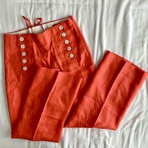 J.Crew Button-Front Linen Sailor Pants